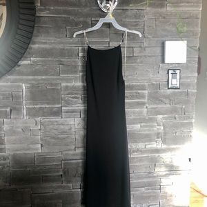 Black midi dress with rhinestone straps